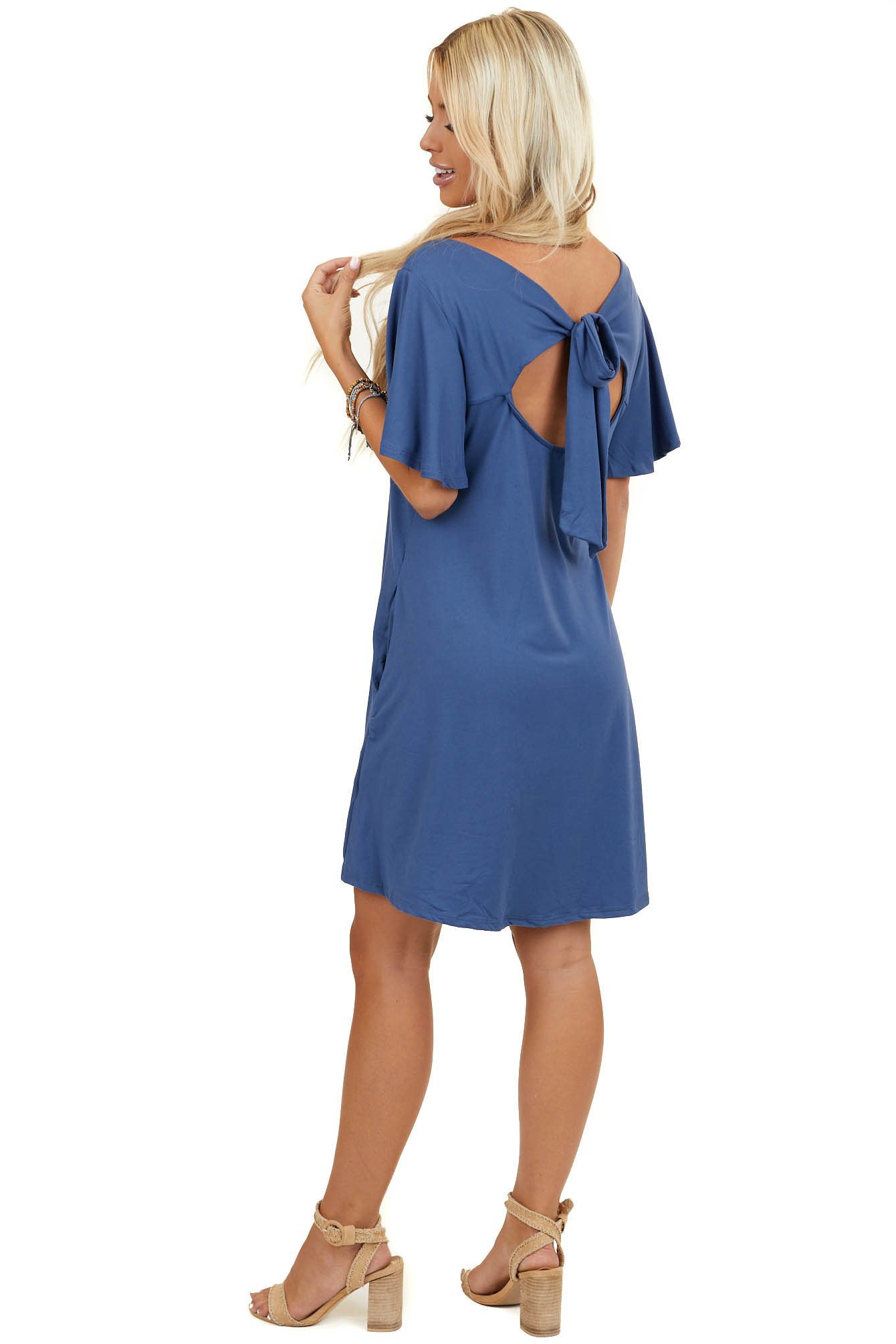 Dusty Blue Keyhole Back Dress with Tie Detail and Pockets