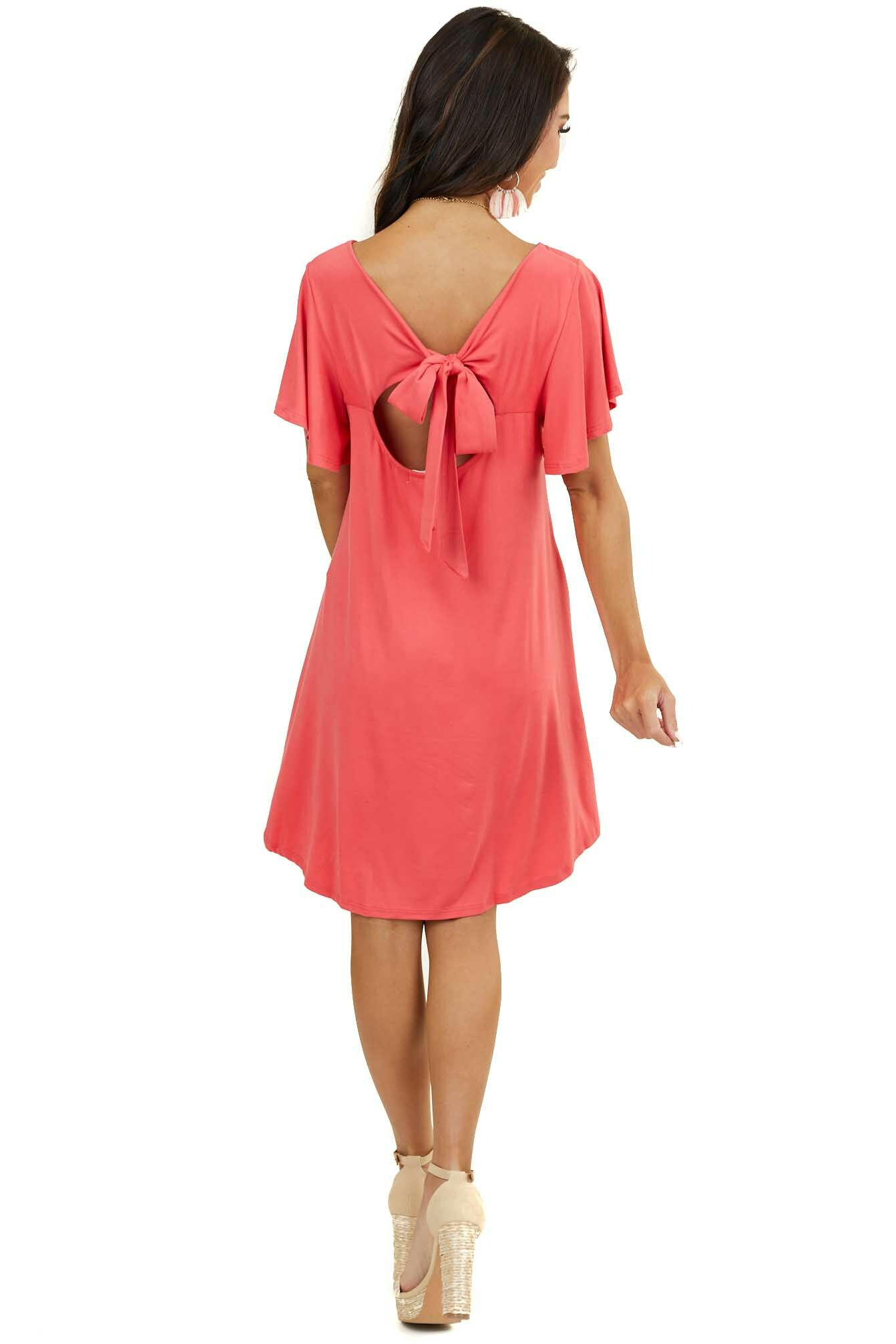 Deep Coral Keyhole Back Dress with Tie Detail and Pockets