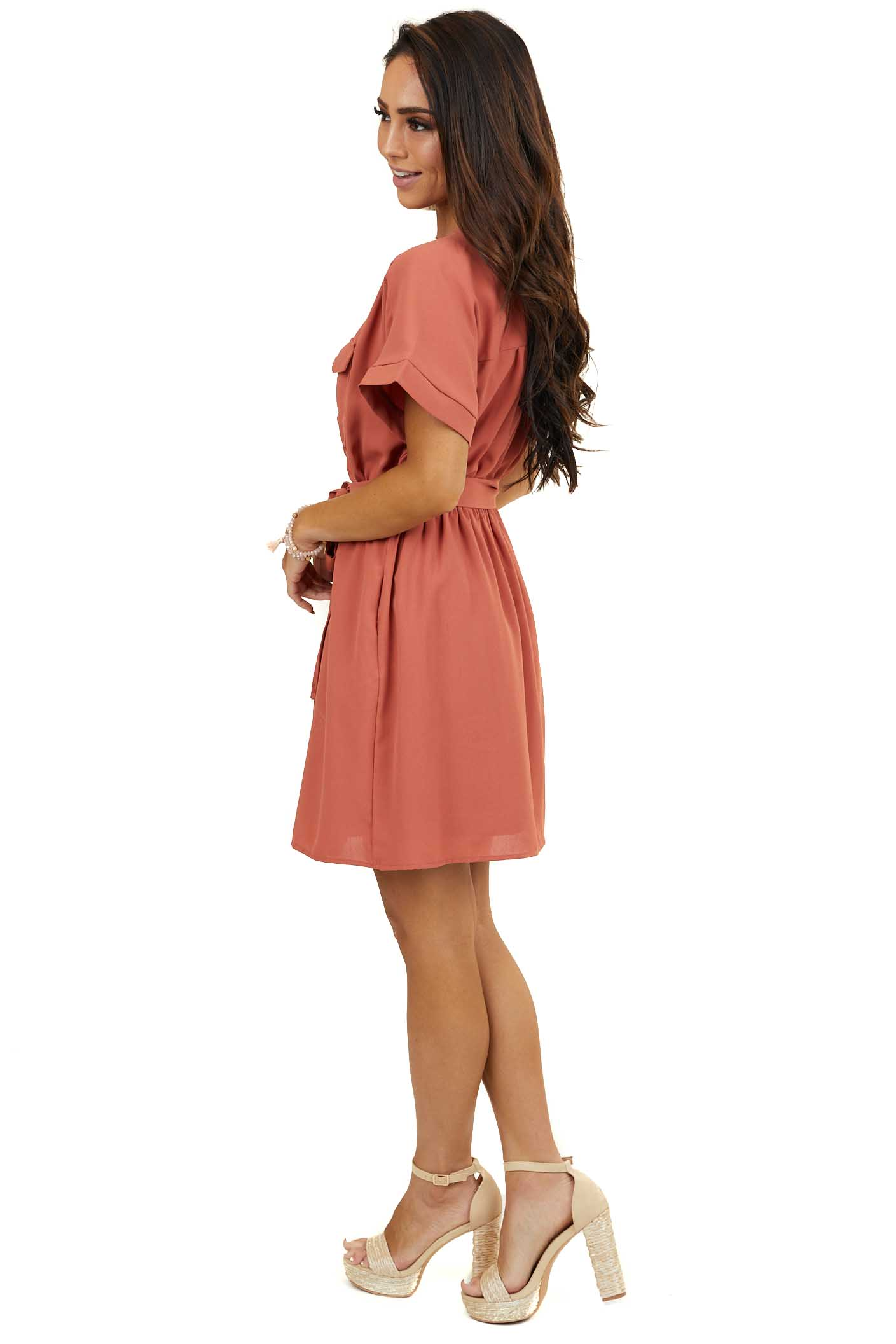Terracotta Surplice Dress with Waist Tie and Pockets