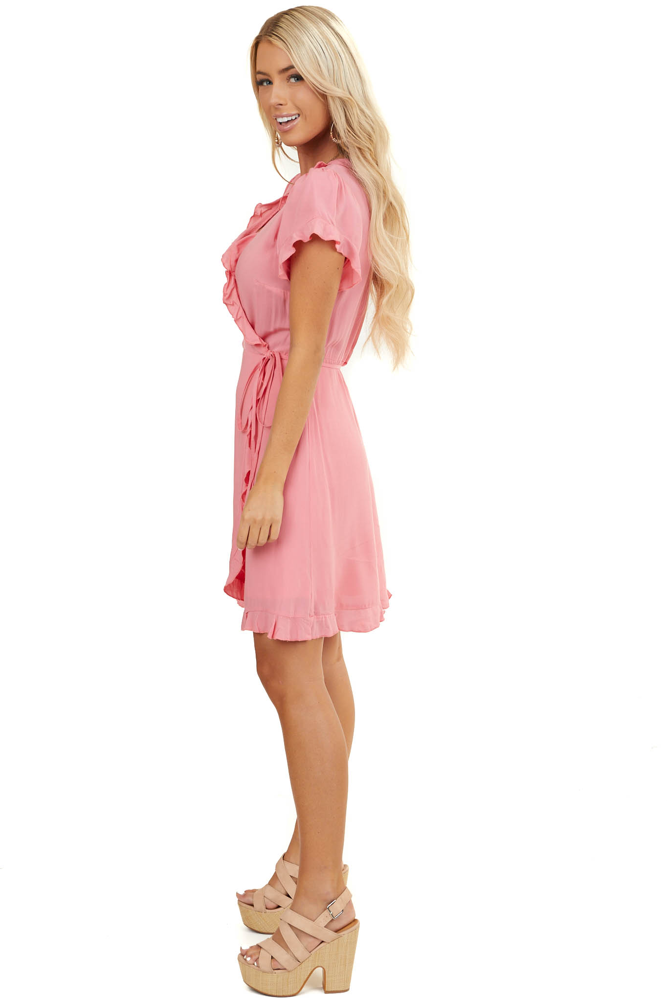 Bright Pink Short Sleeve Wrap Dress with Ruffle Details
