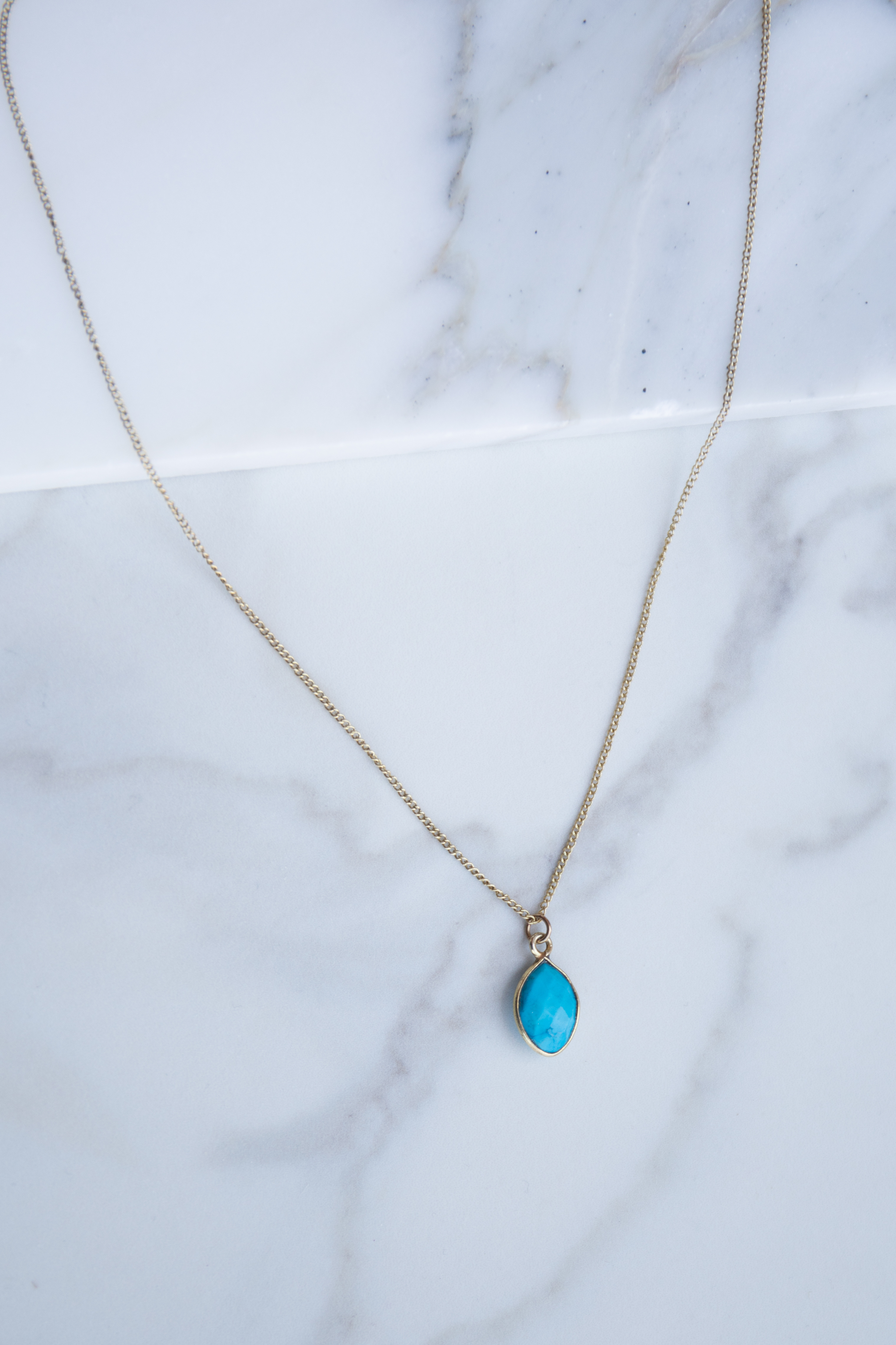 Antique Gold Necklace with Cerulean Stone Pendant