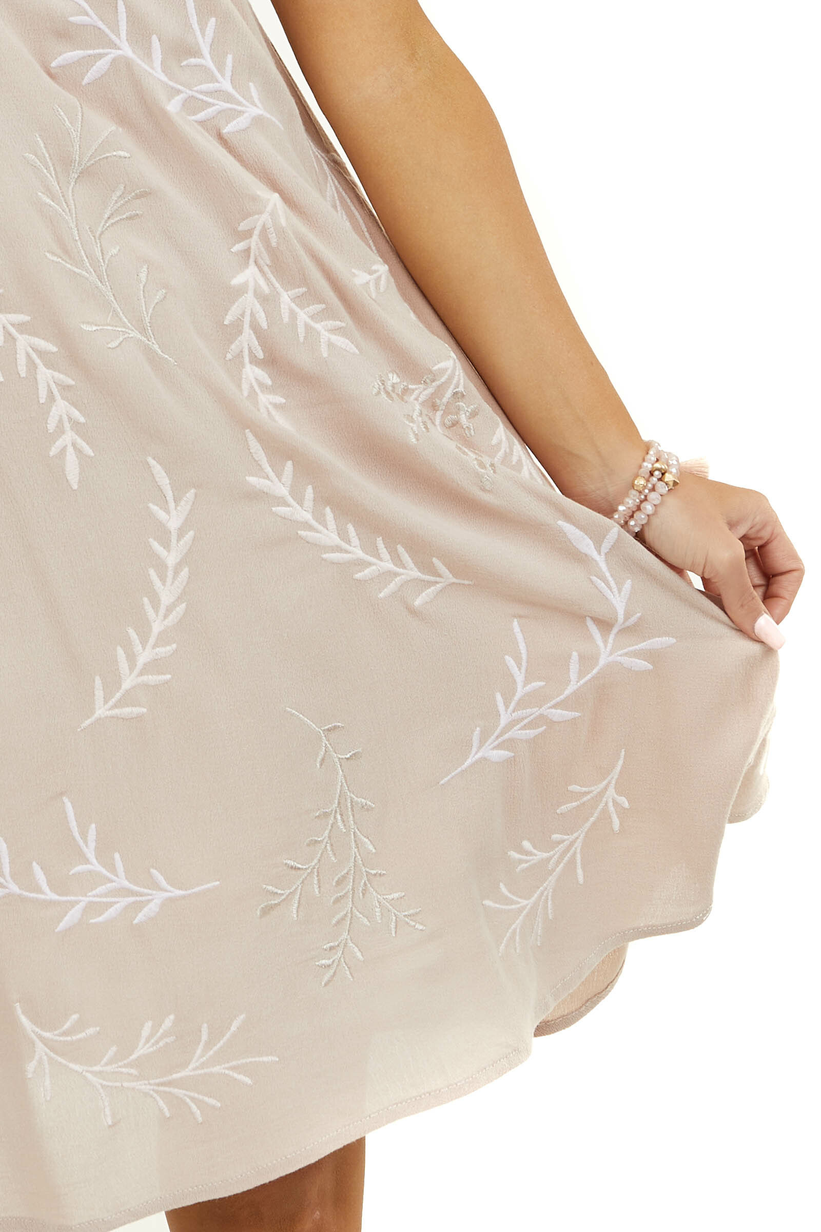 Latte Embroidered Sleeveless Dress with Spaghetti Straps