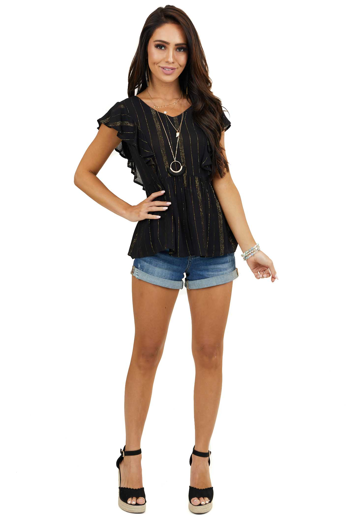 Black Short Sleeve Drop Waist V Neck Top with Gold Threading