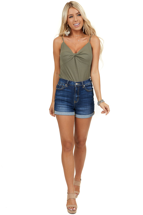Olive Green Camisole Top with Front Twist Detail