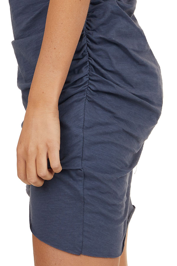 Stormy Blue Short Sleeve Mini Dress with Ruched Details
