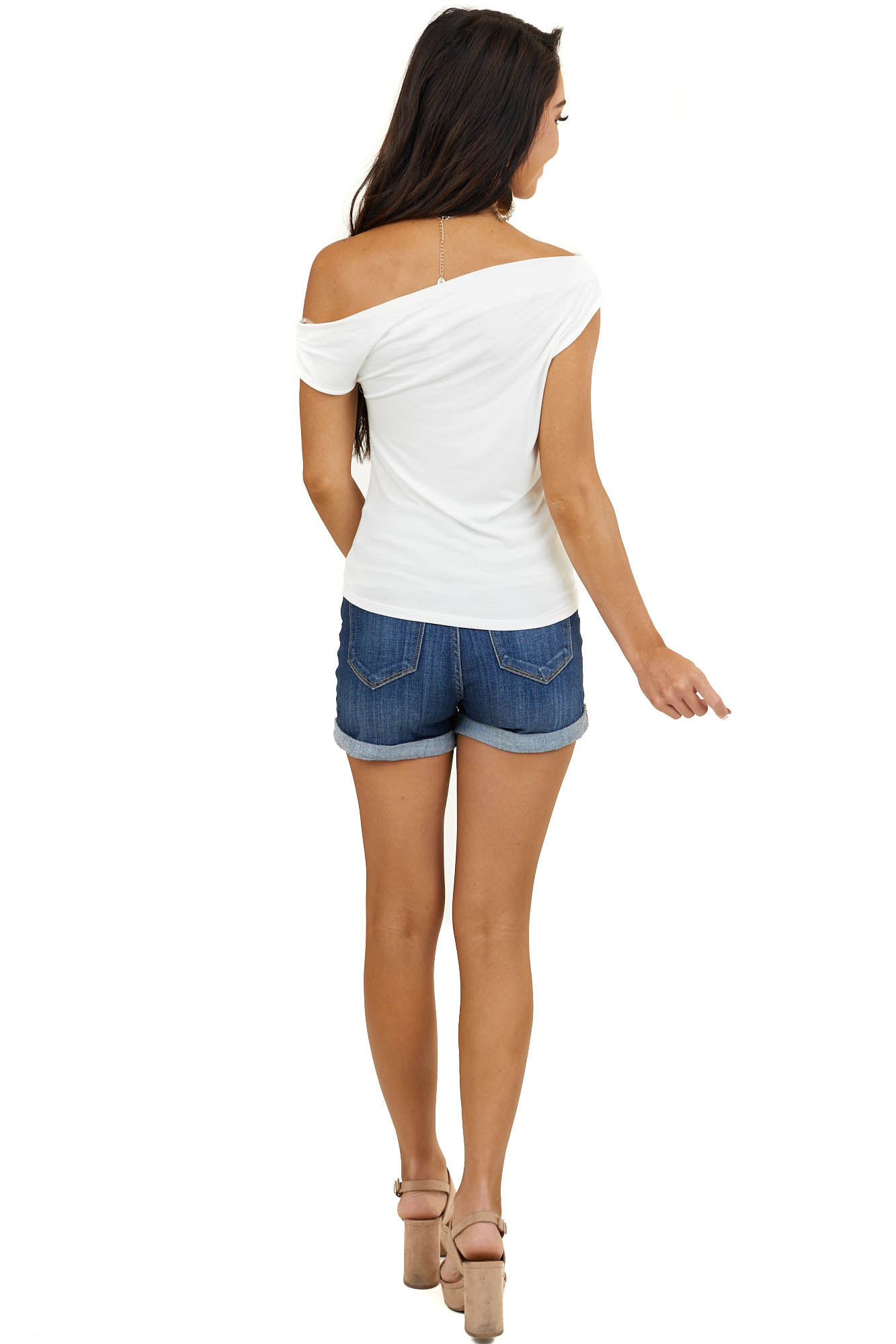 Off White Sleeveless Off Shoulder Top with Draped Neckline