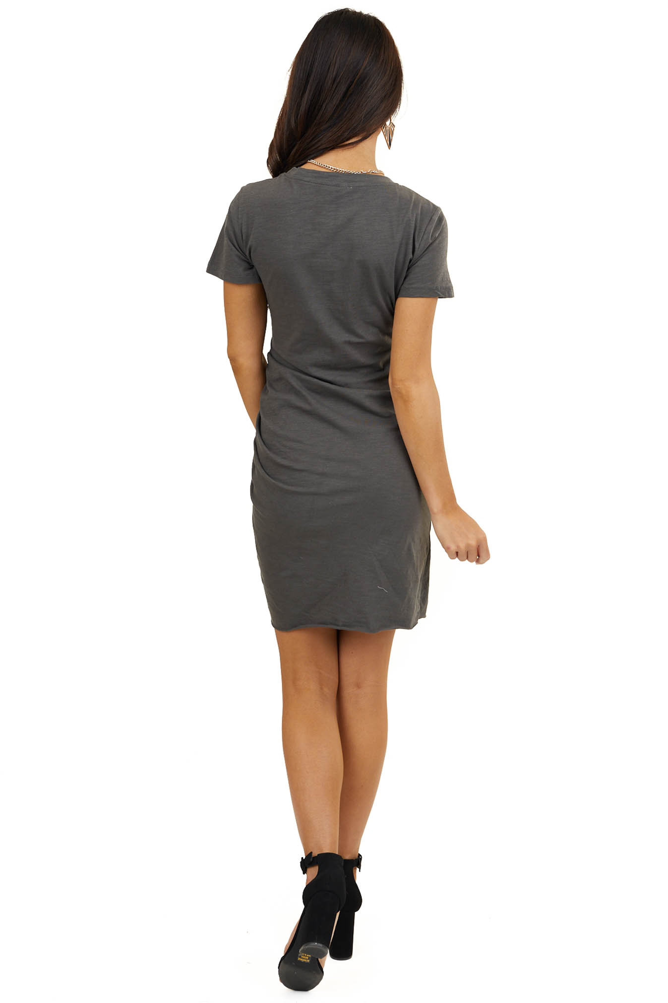 Charcoal Short Sleeve Mini Dress with Ruched Details