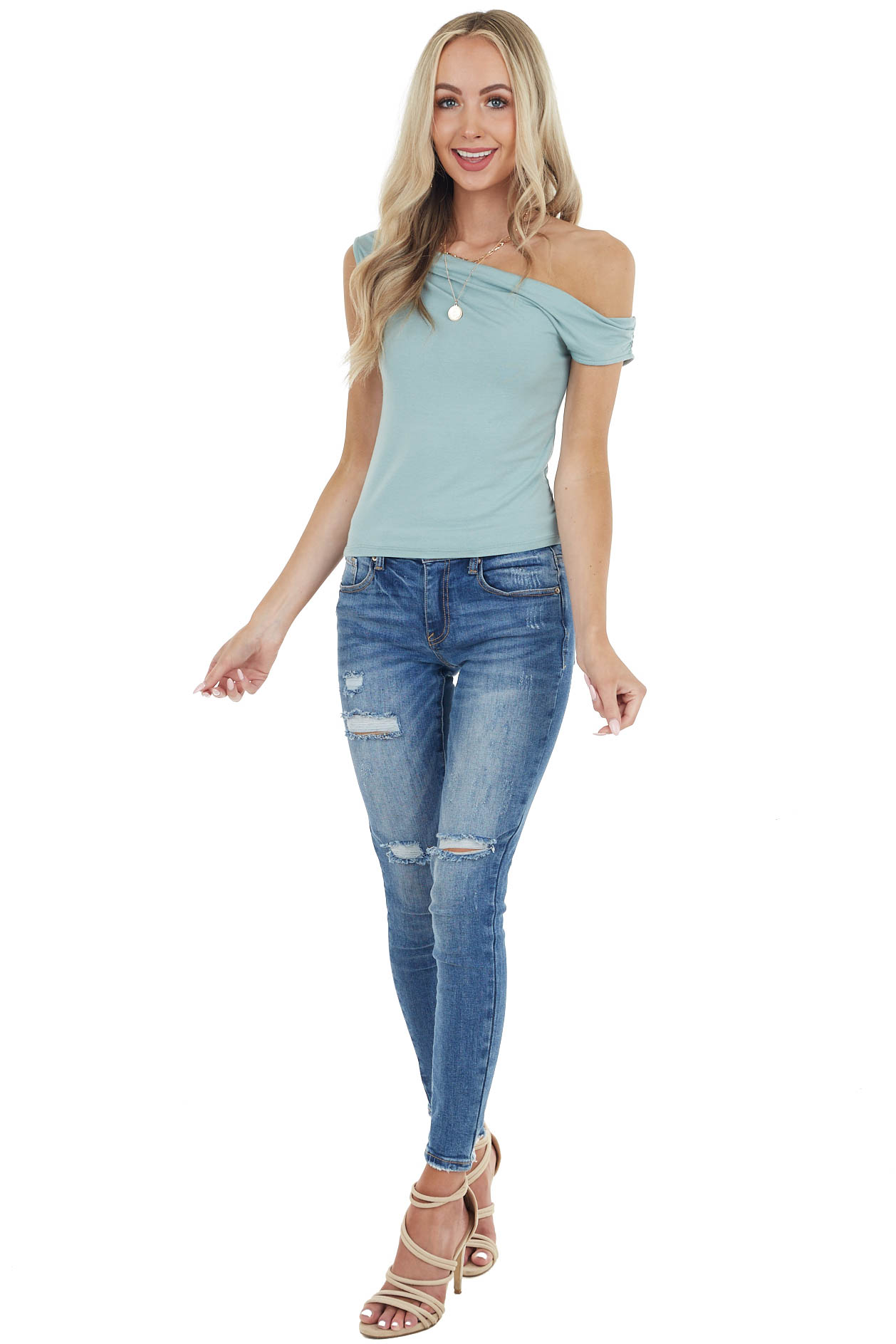 Sage Sleeveless Off Shoulder Top with Draped Neckline