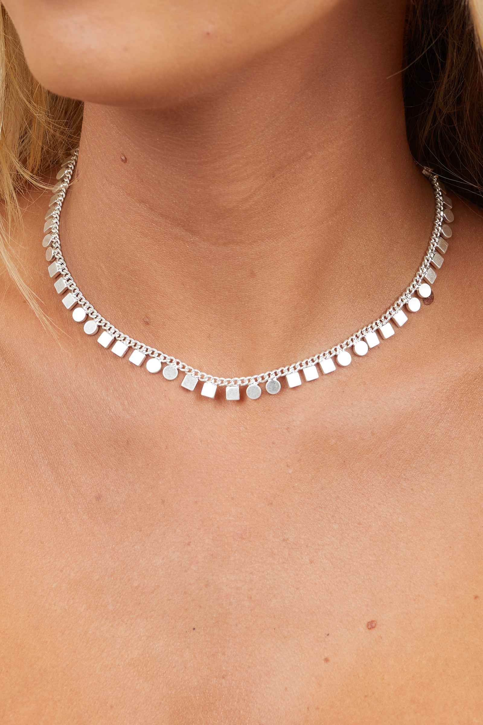 Brushed Silver Choker Necklace with Geometric Charms