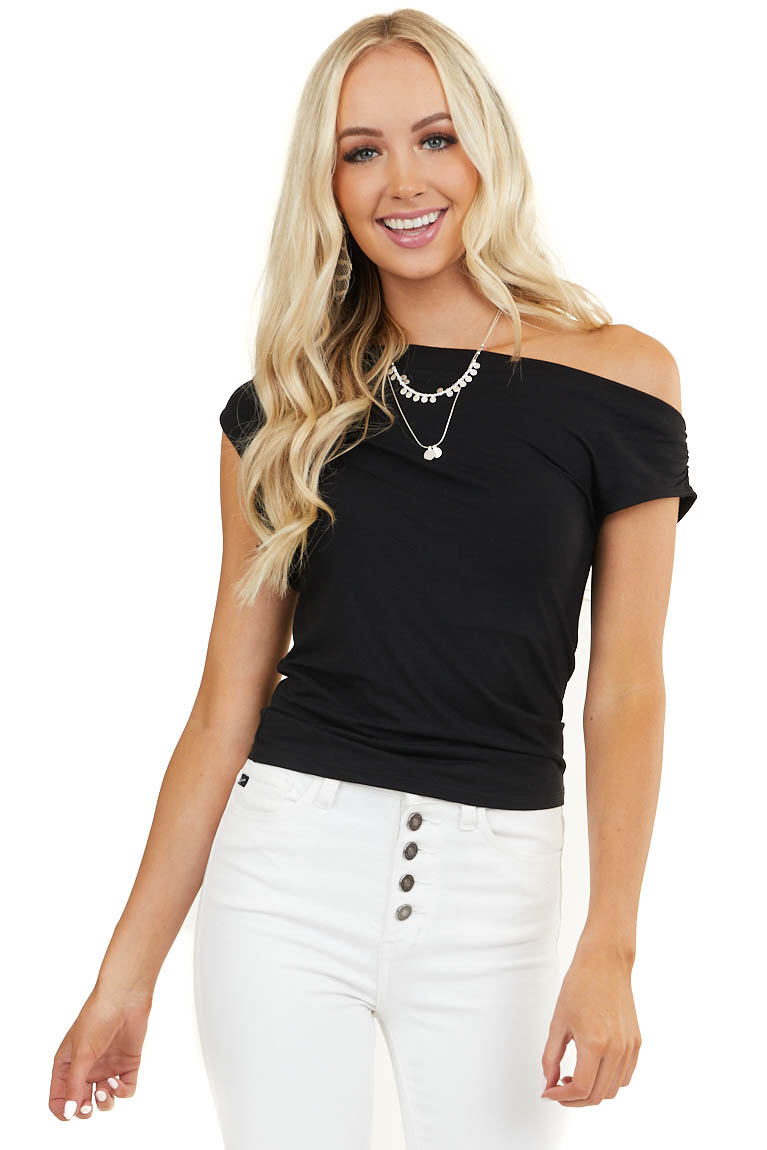 Black Sleeveless Off Shoulder Top with Draped Neckline