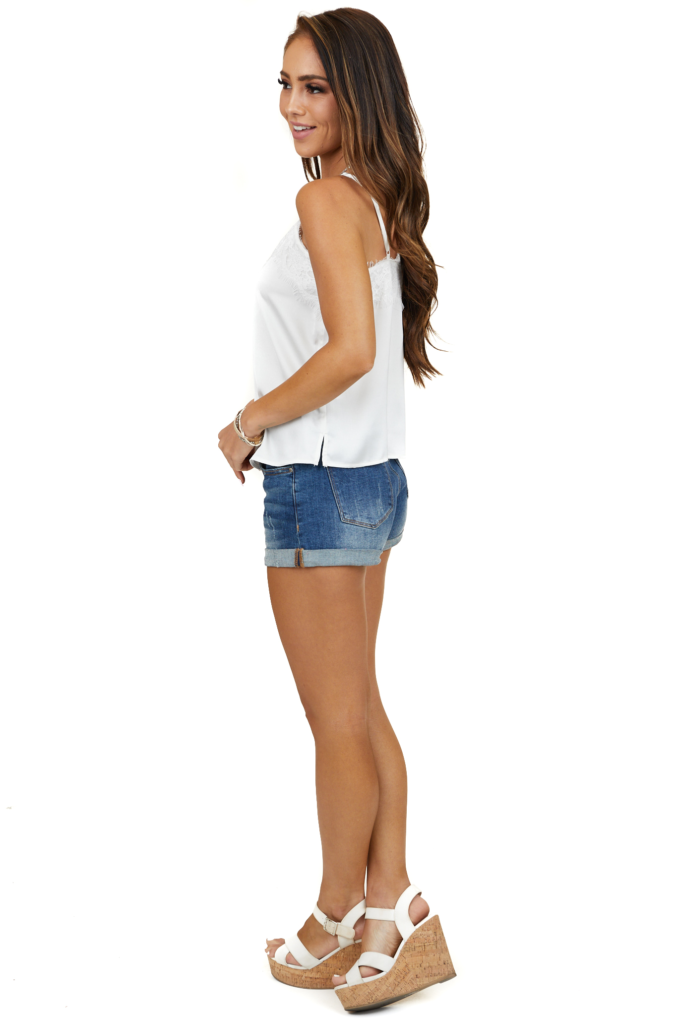 Ivory Silky Tank Top with Button and Lace Details