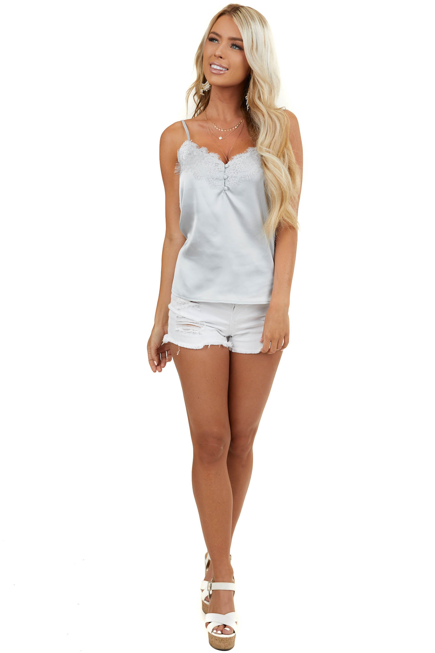 Dove Grey Silky Tank Top with Button and Lace Details