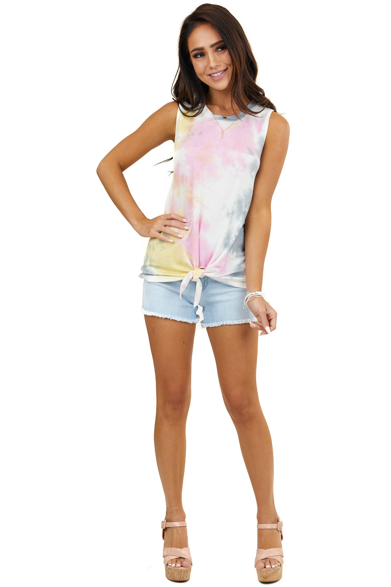 Multicolored Tie Dye Sleeveless Knit Top with Front Knot