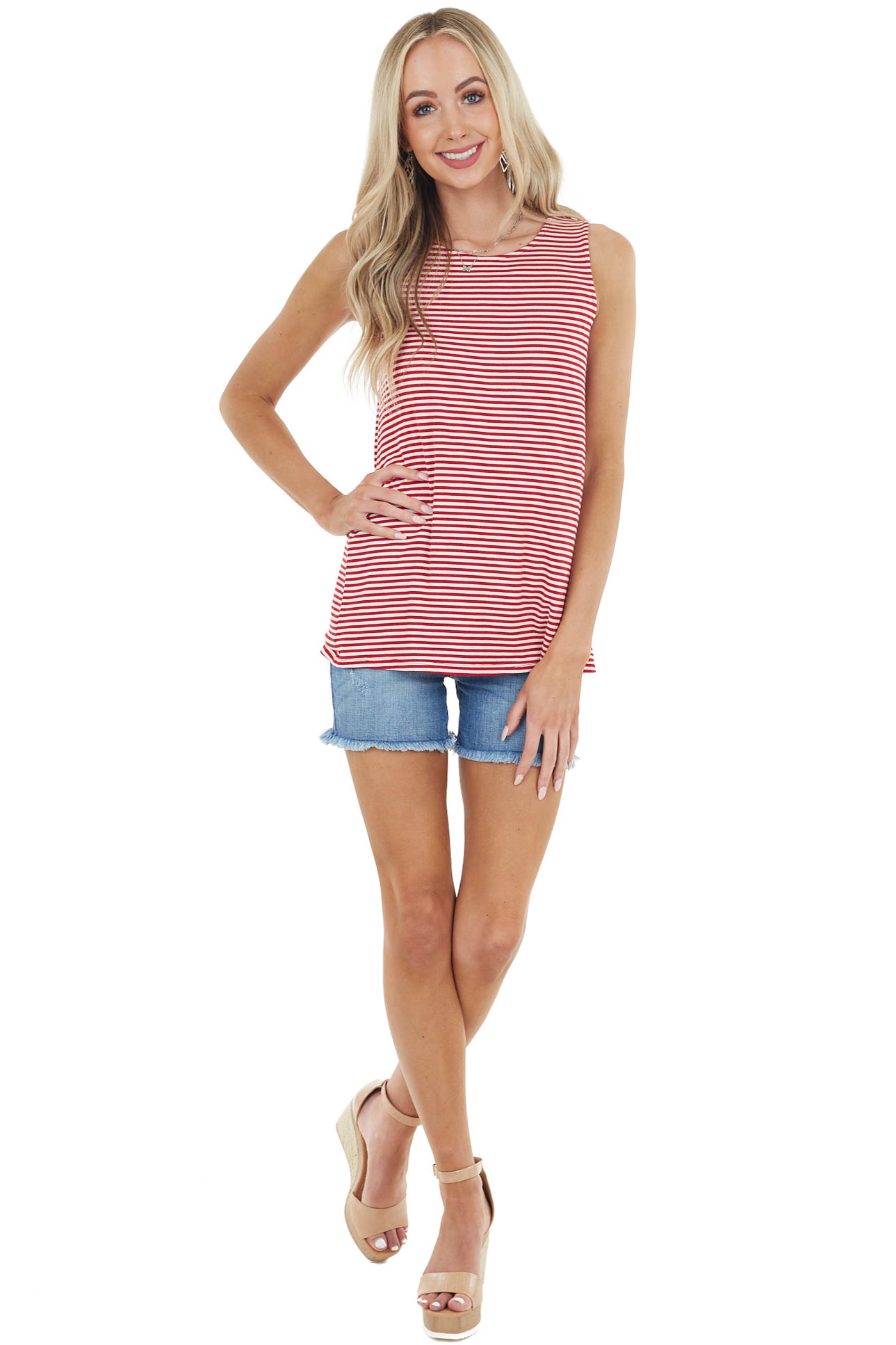 Red and White Striped Top with Back Draped Cutout Detail