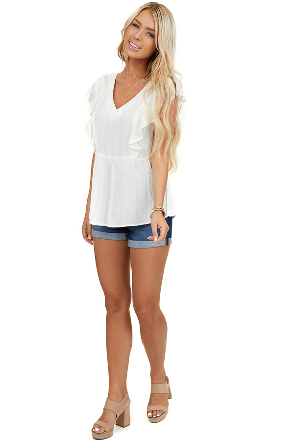 Ivory Short Sleeve Drop Waist V Neck Top with Gold Threading