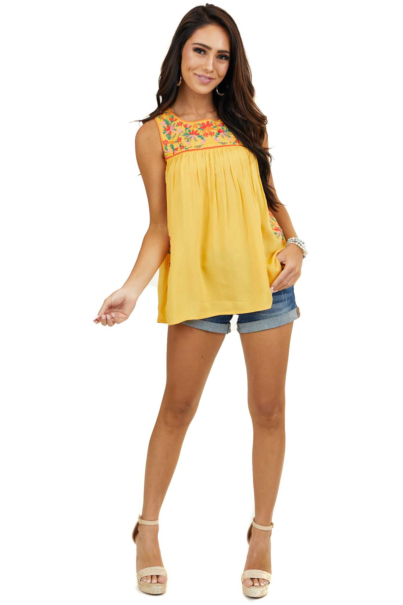 Amber Woven Tank Top with Floral Embroidery Details