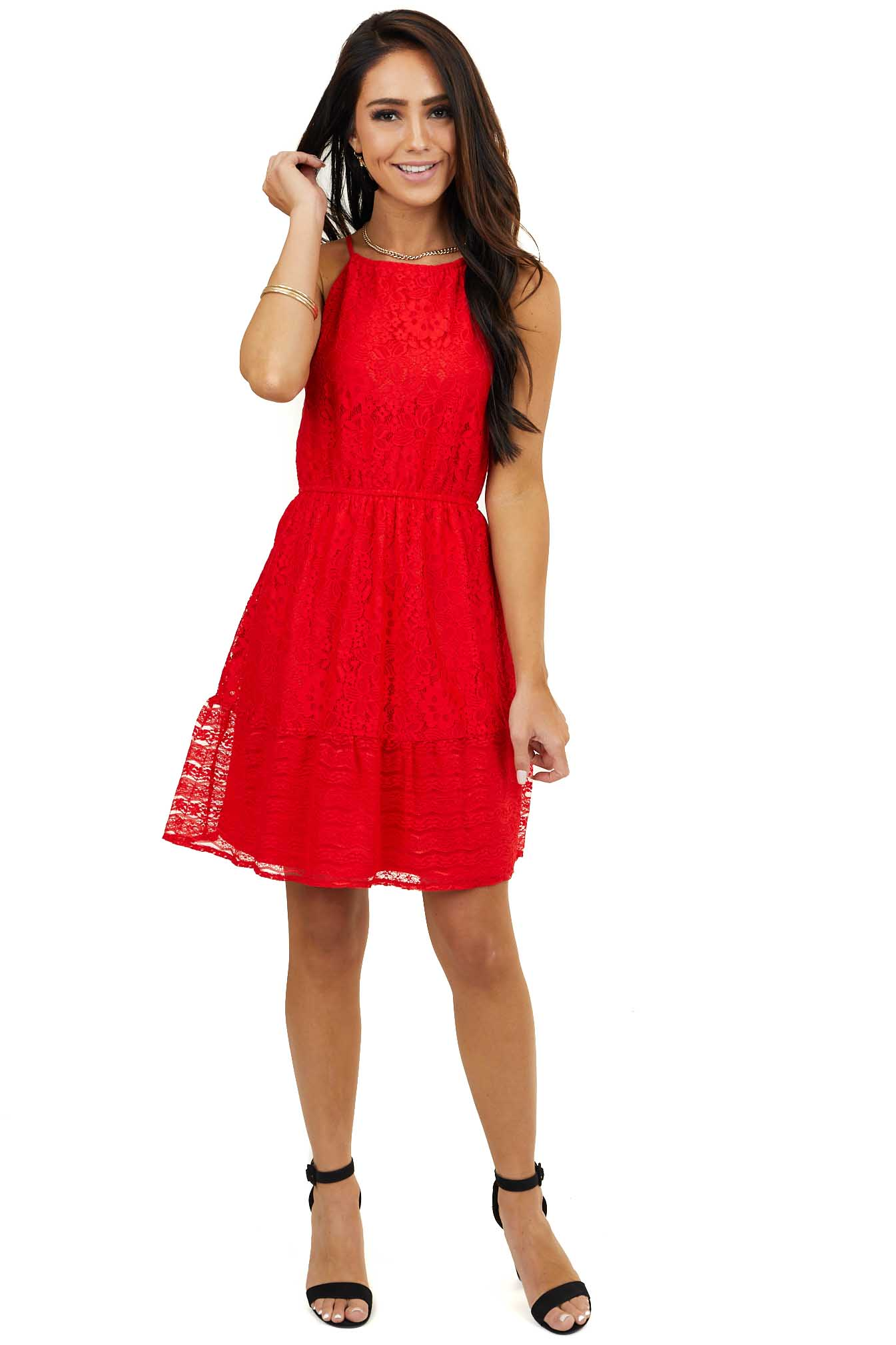Lipstick Red Sleeveless High Neck Floral Lace Dress