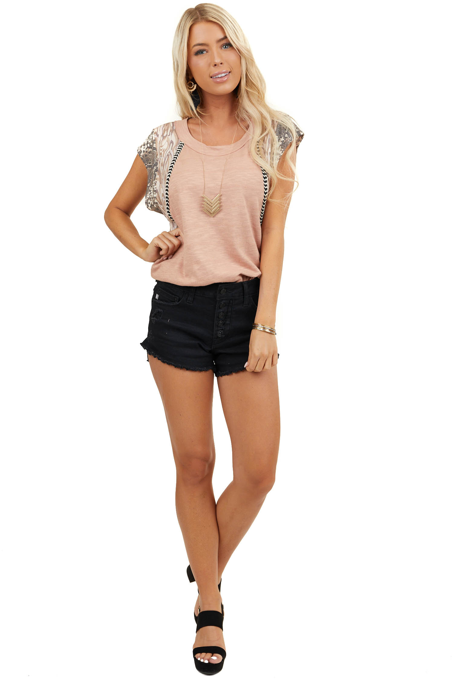 Apricot Multiprint Knit Top with Contrast Short Sleeves