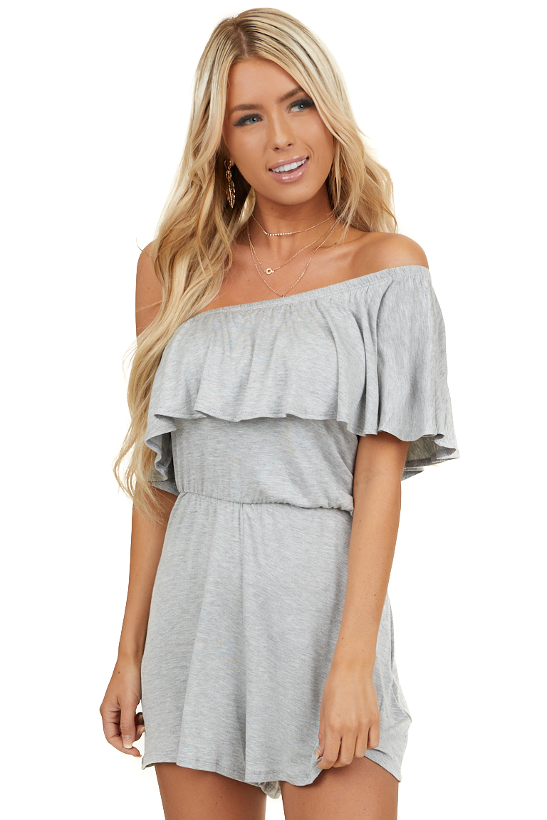 Heather Grey Off Shoulder Romper with Ruffle Overlay Detail