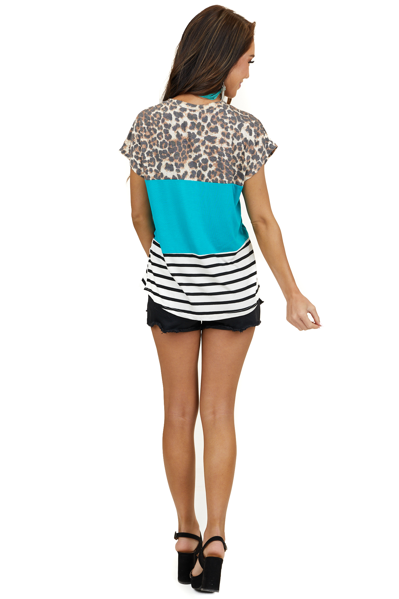 Teal Multiprint Colorblock Top with Front Cutout Detail