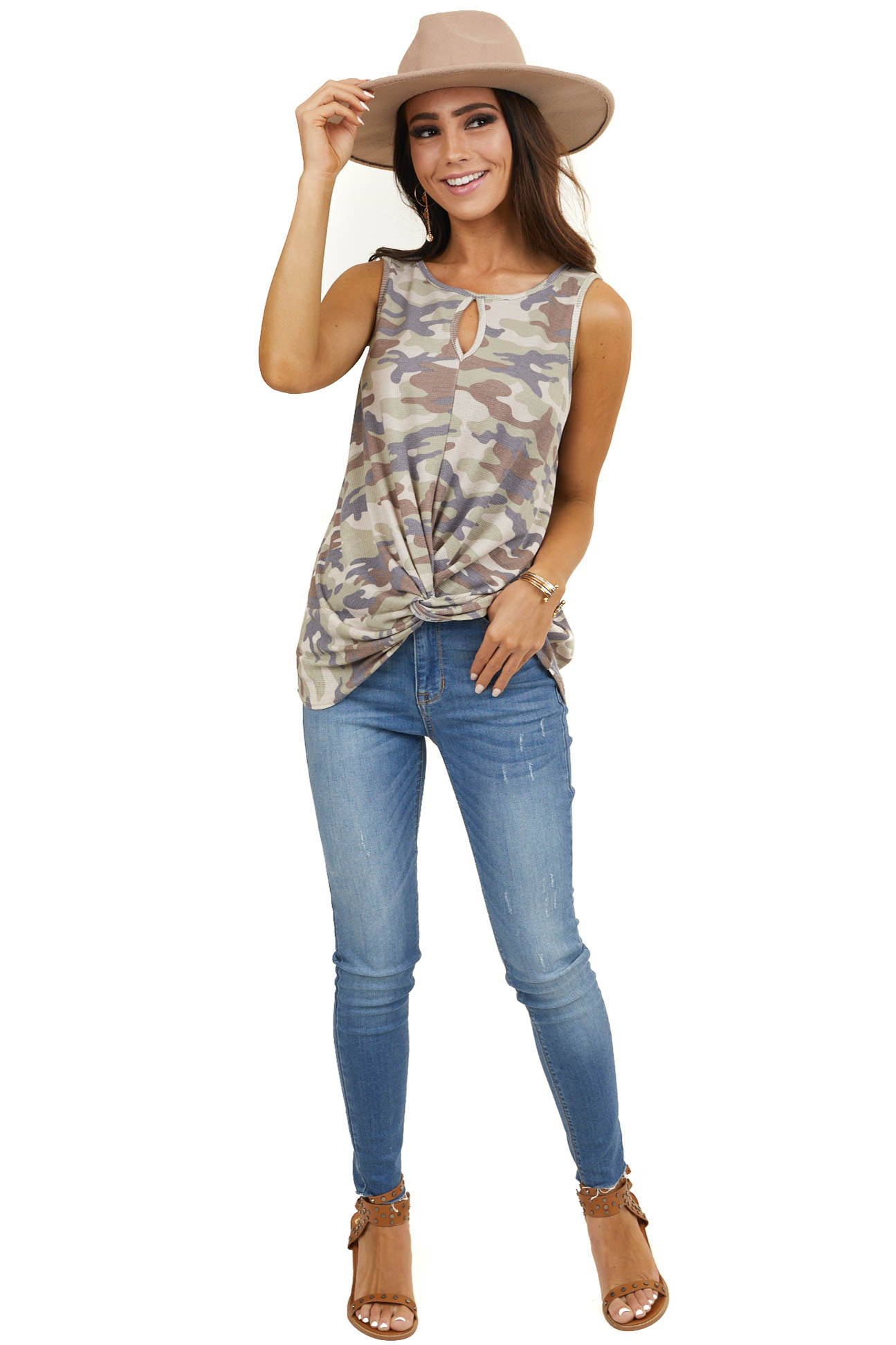 Sage Camo Print Tank Top with Front Twist and Front Cutout