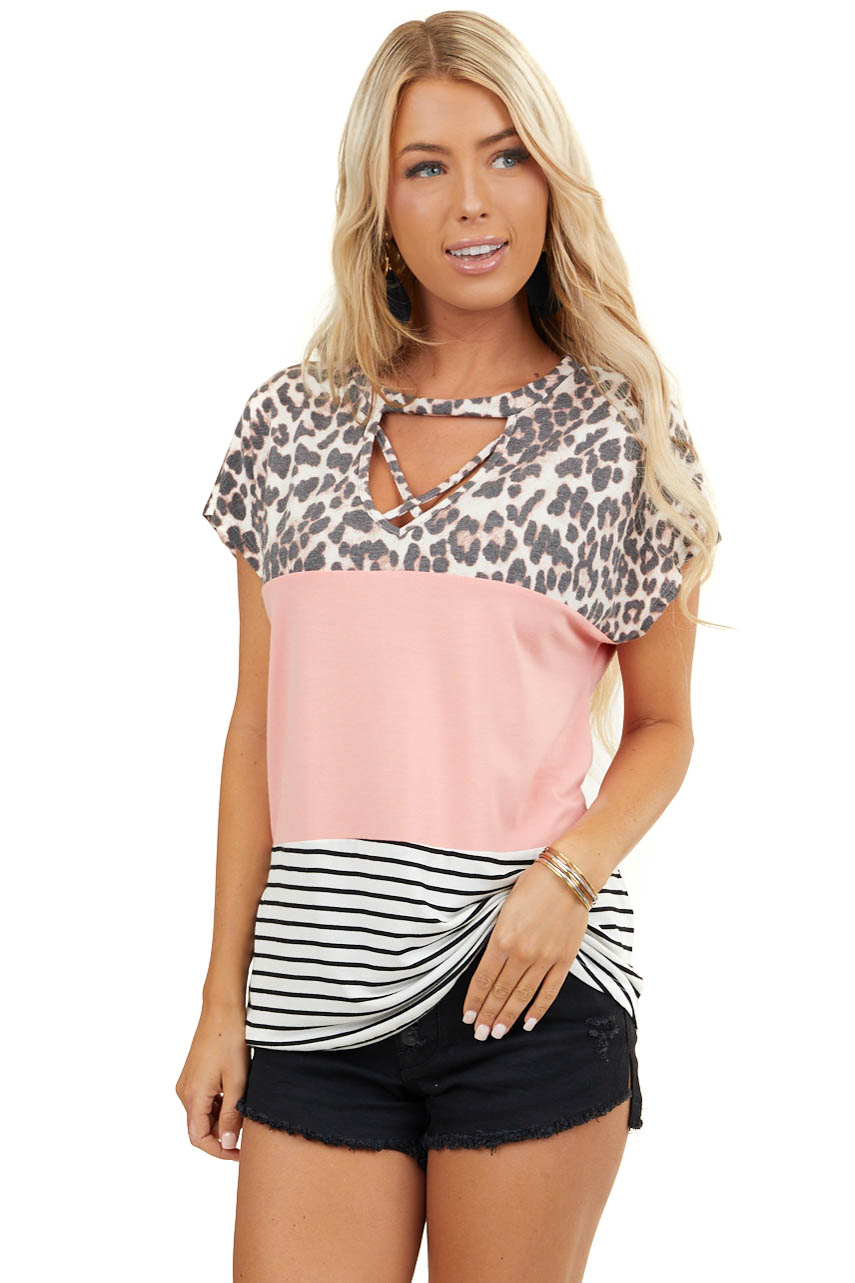 Coral Multiprint Colorblock Top with Front Cutout Detail