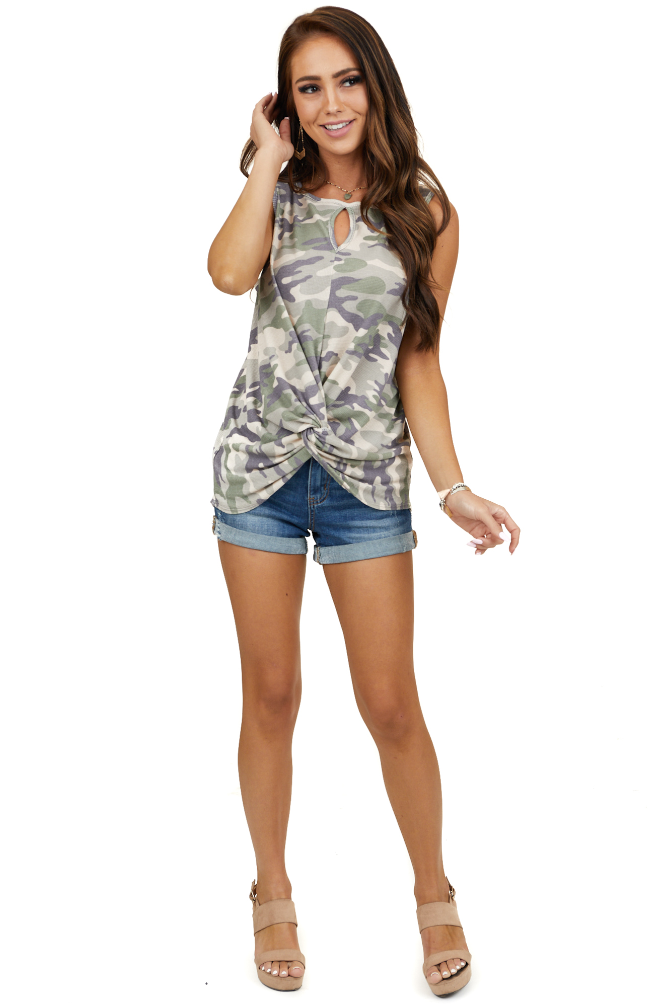 Olive Camo Print Tank Top with Front Twist and Front Cutout