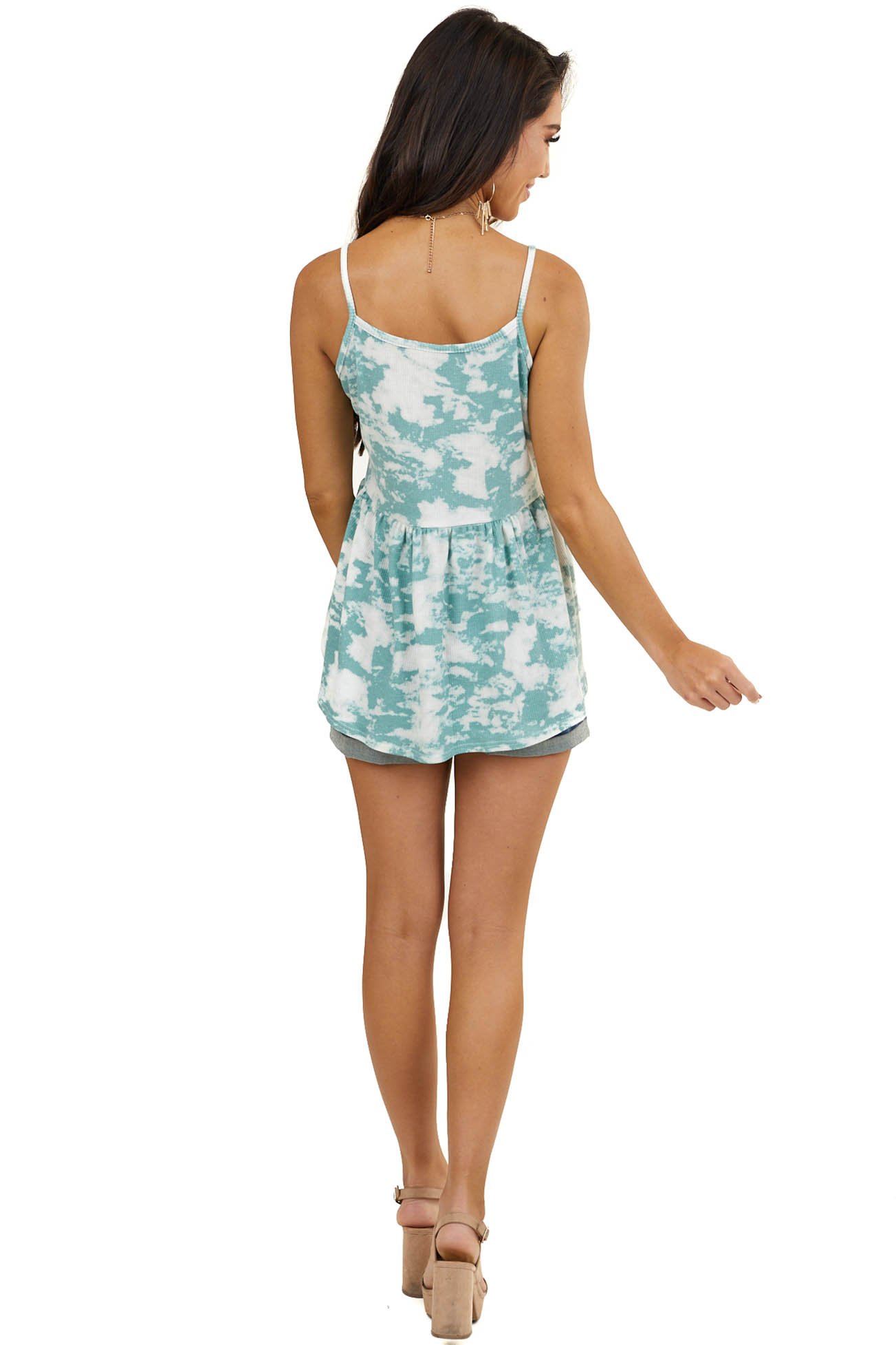 Faded Teal Tie Dye Babydoll Tank Top with V Neckline