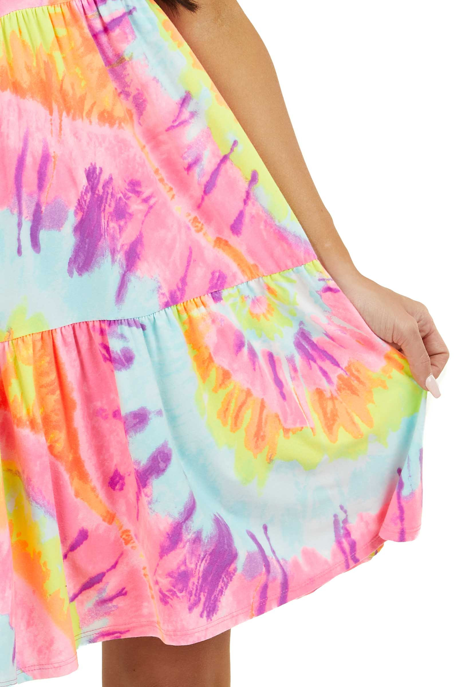 Multicolor Tie Dye Tiered Knit Dress with Short Sleeves