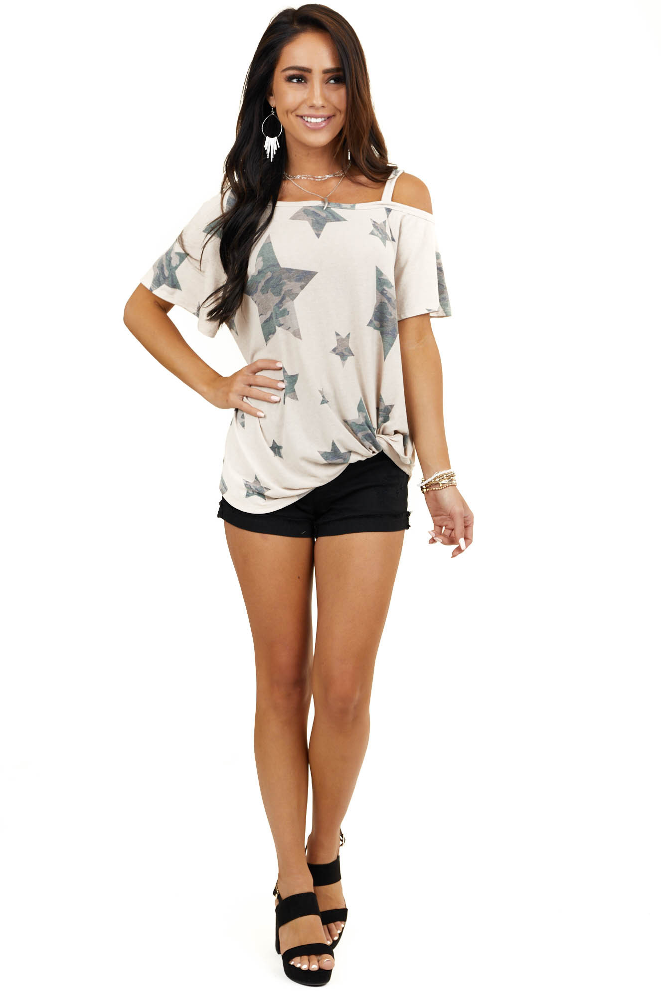 Latte Camo Star Print One Cold Shoulder Top with Twist
