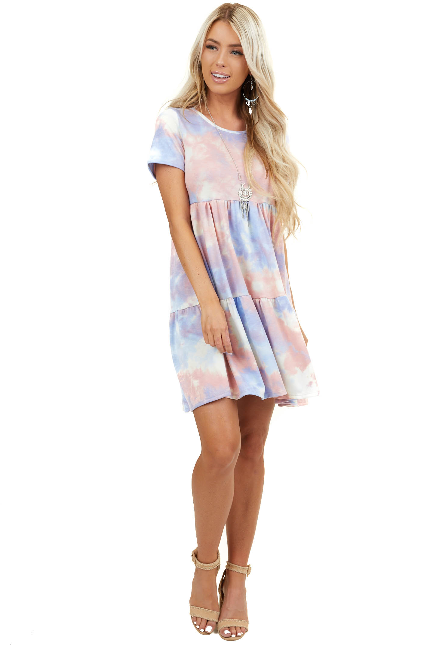 Powder Blue and Dusty Blush Tie Dye Dress with Short Sleeves