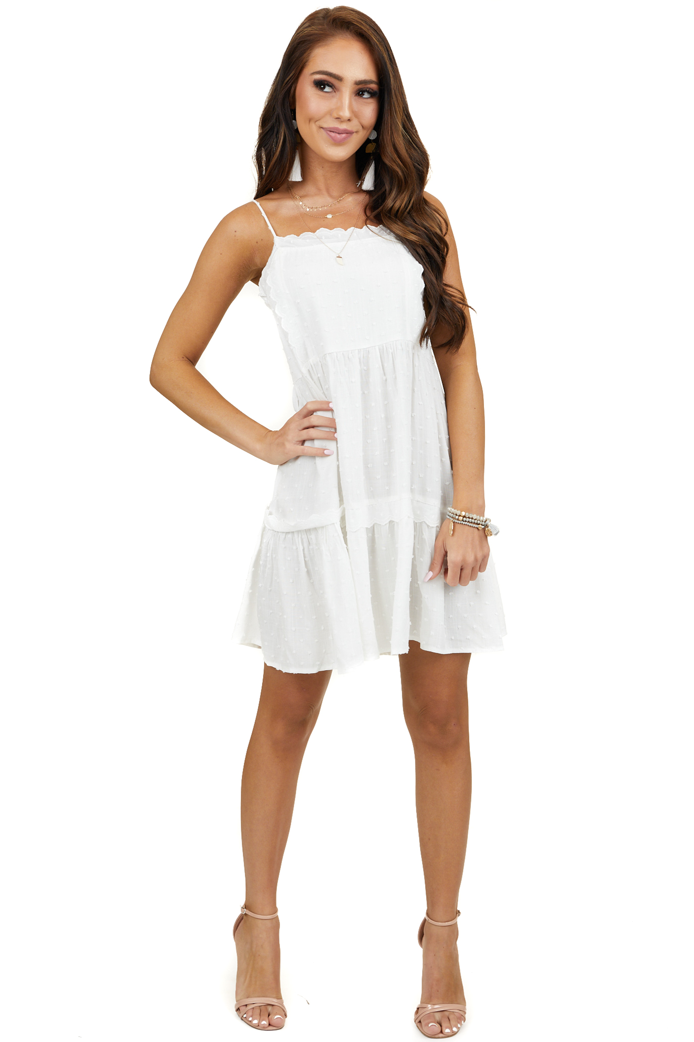 Off White Swiss Dot Tiered Mini Dress with Scalloped Details