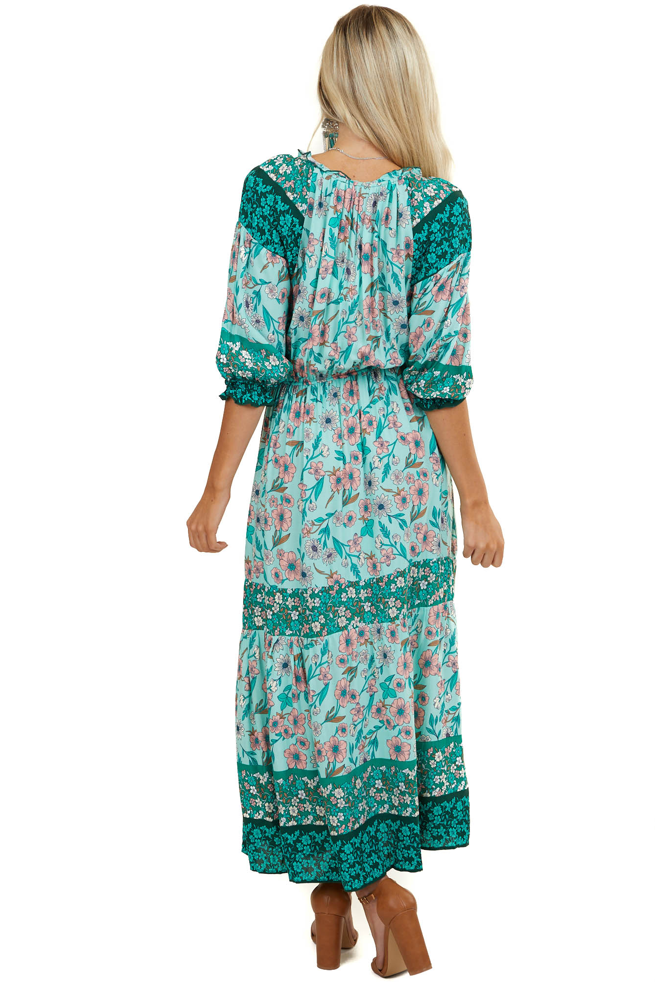 Seafoam Floral 3/4 Sleeve Maxi Dress with Ruffle Details