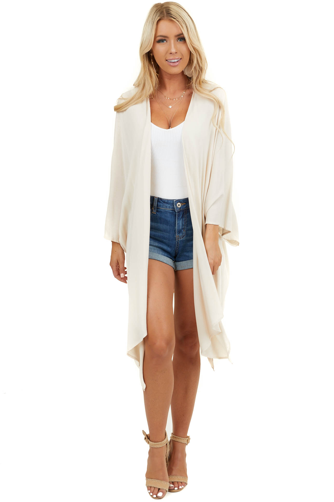 Natural Long Sleeve Open Kimono with Back Cutout Detail