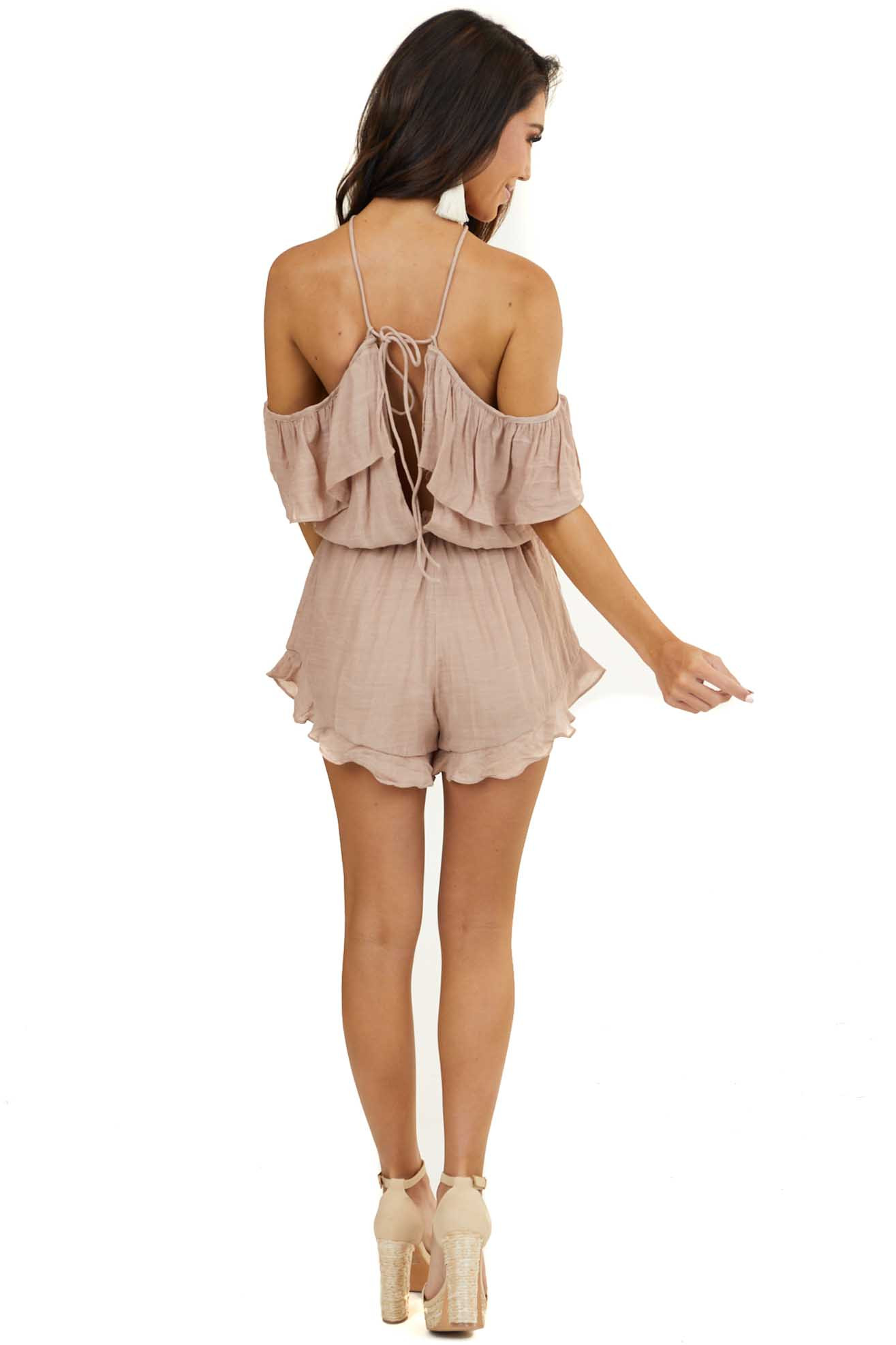 Latte Halter Romper with Ruffle Details and Bust Overlay