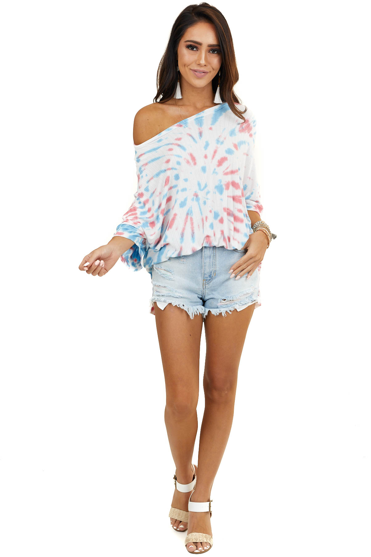 Powder Blue and Faded Red Tie Dye Short Sleeve Top