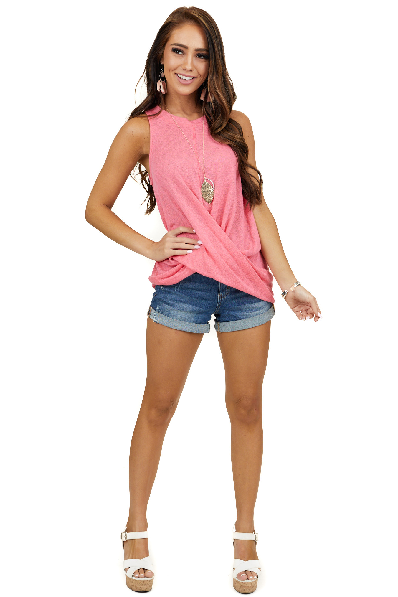 Neon Pink Tank Top with Keyhole Back and Twist Detail
