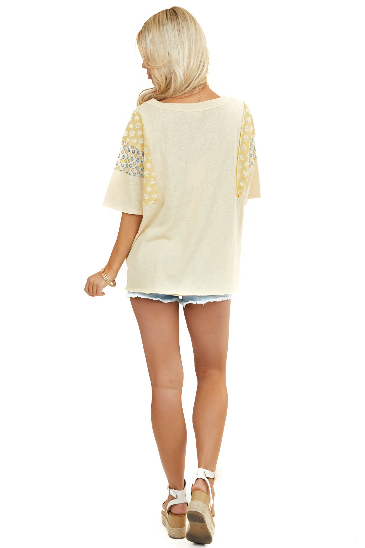Straw Yellow Knit Tee Shirt with Multiprint Contrast Sleeves