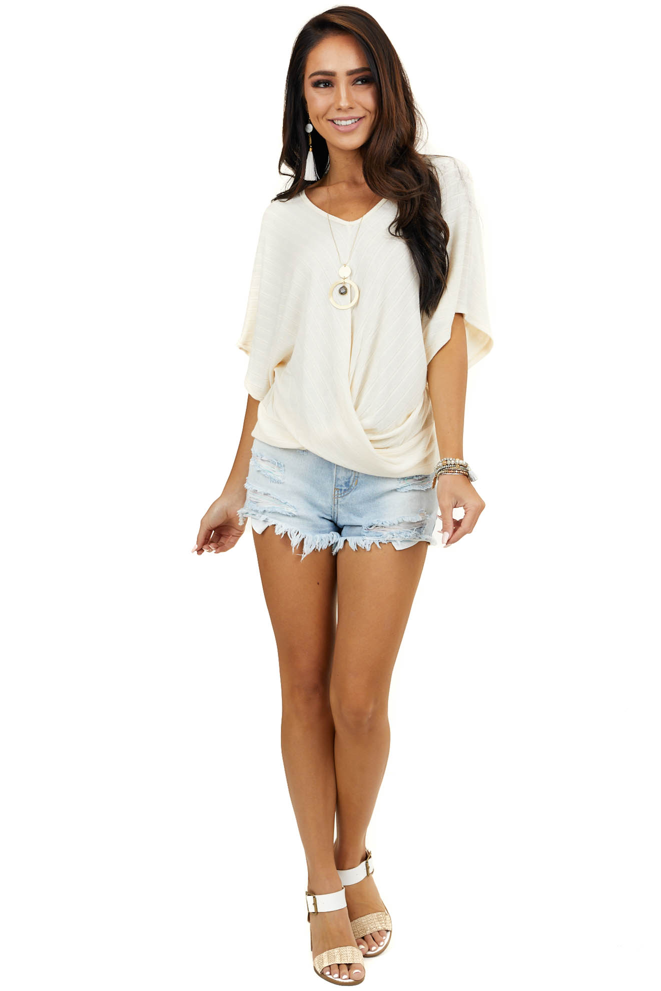 Cream Textured V Neck Dolman Top with Front Twist Detail