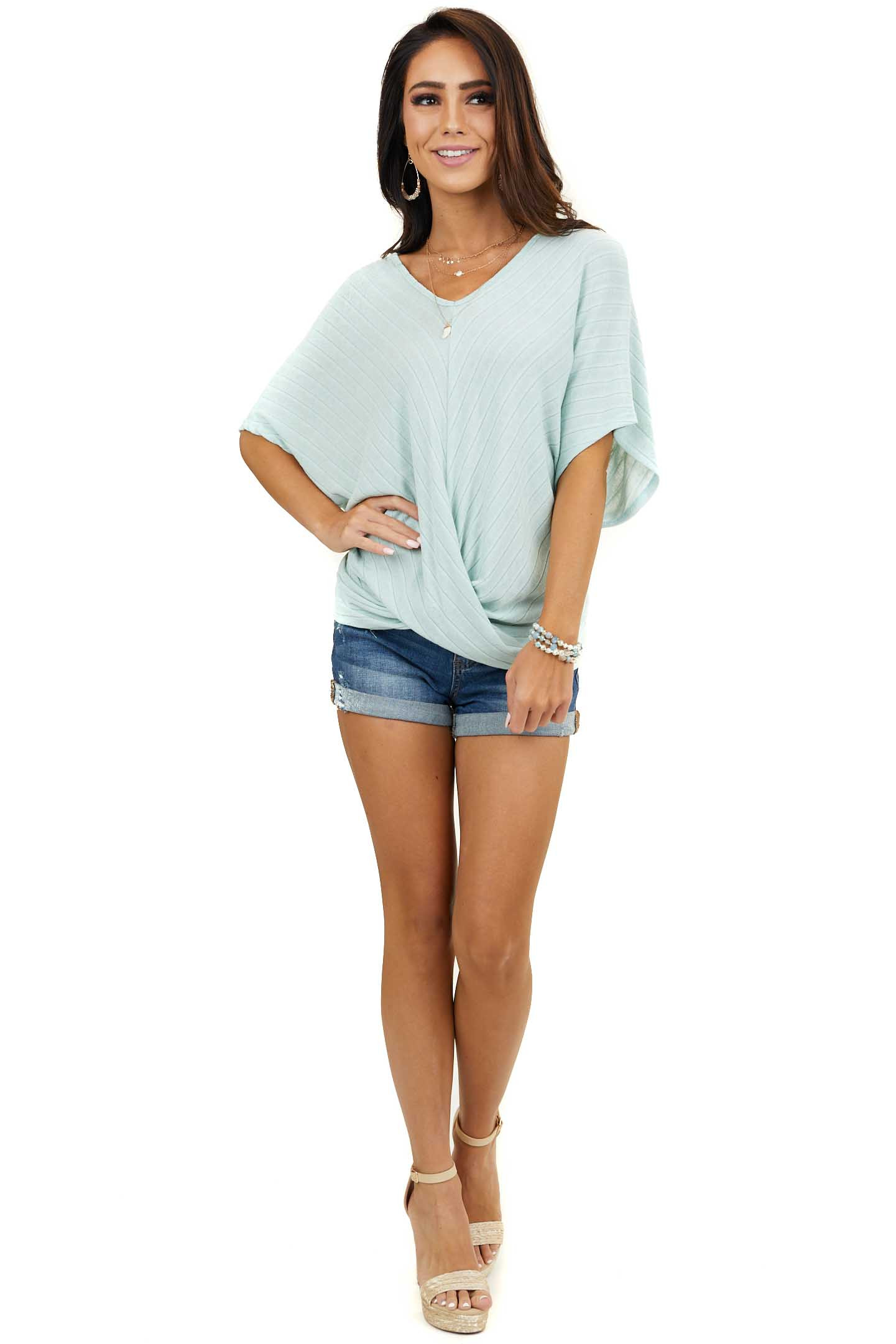 Sage Textured V Neck Dolman Top with Front Twist Detail