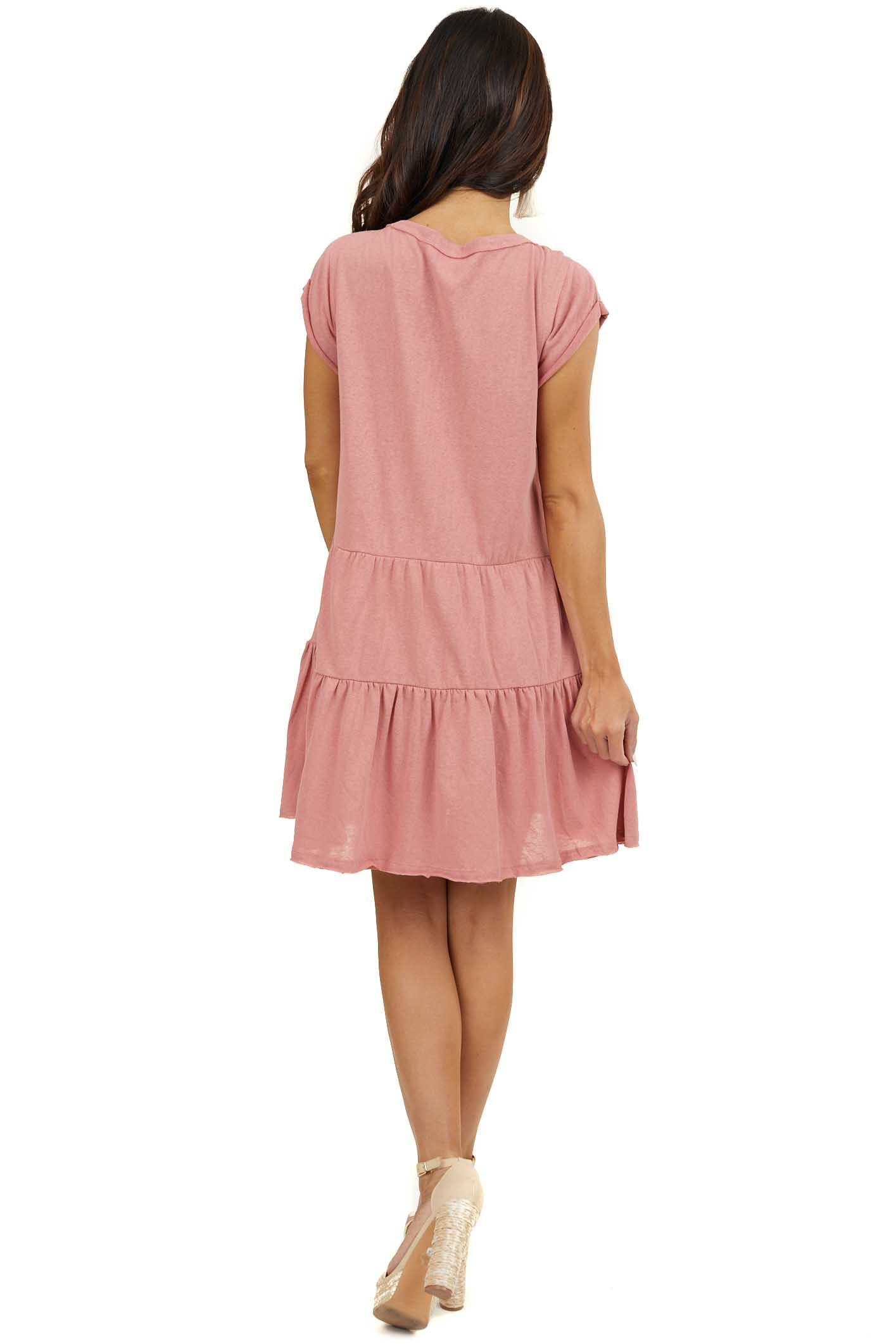 Dusty Blush Tiered Short Dress with Short Raw Sleeves