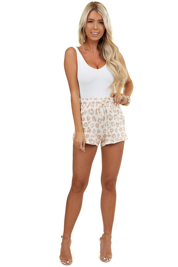 Light Mauve and Ivory Leopard Print Knit Shorts with Tie