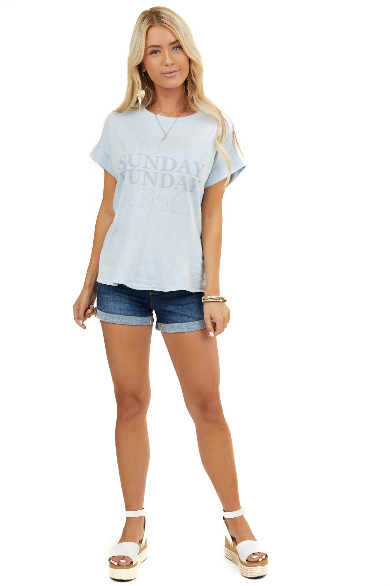 Pale Blue 'Sunday Funday' Graphic Tee With Front Knot