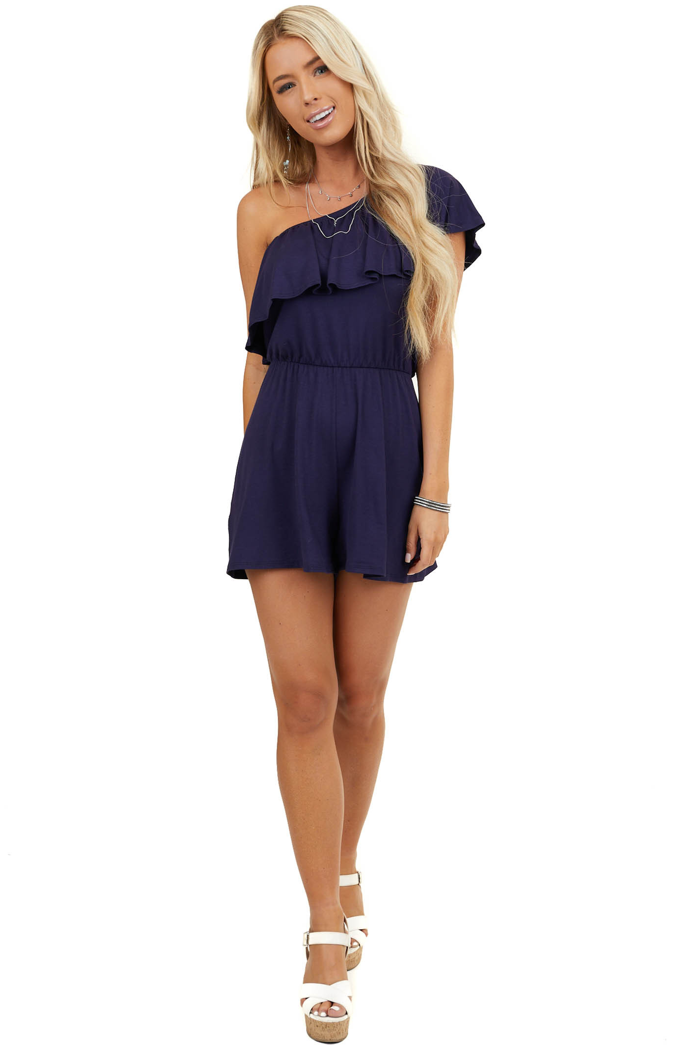 Navy Off Shoulder Romper with Ruffle Overlay Detail