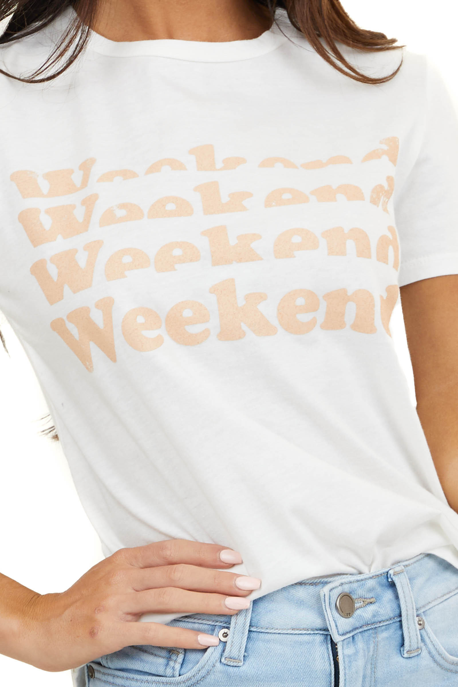 Off White 'Weekend' Graphic Tee With Short Sleeves