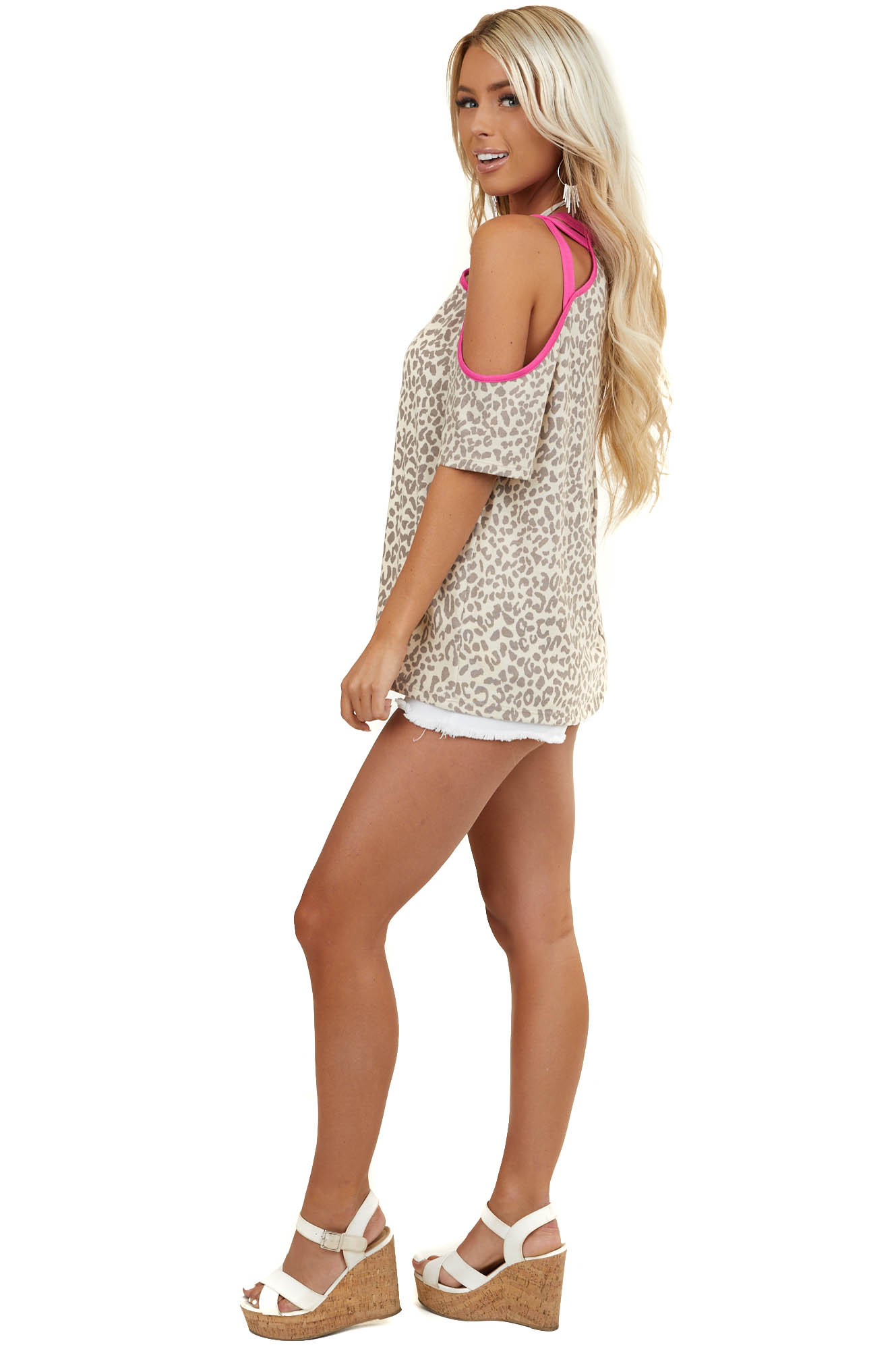 Cream and Hot Pink Leopard Print Cold Shoulder Knit Top