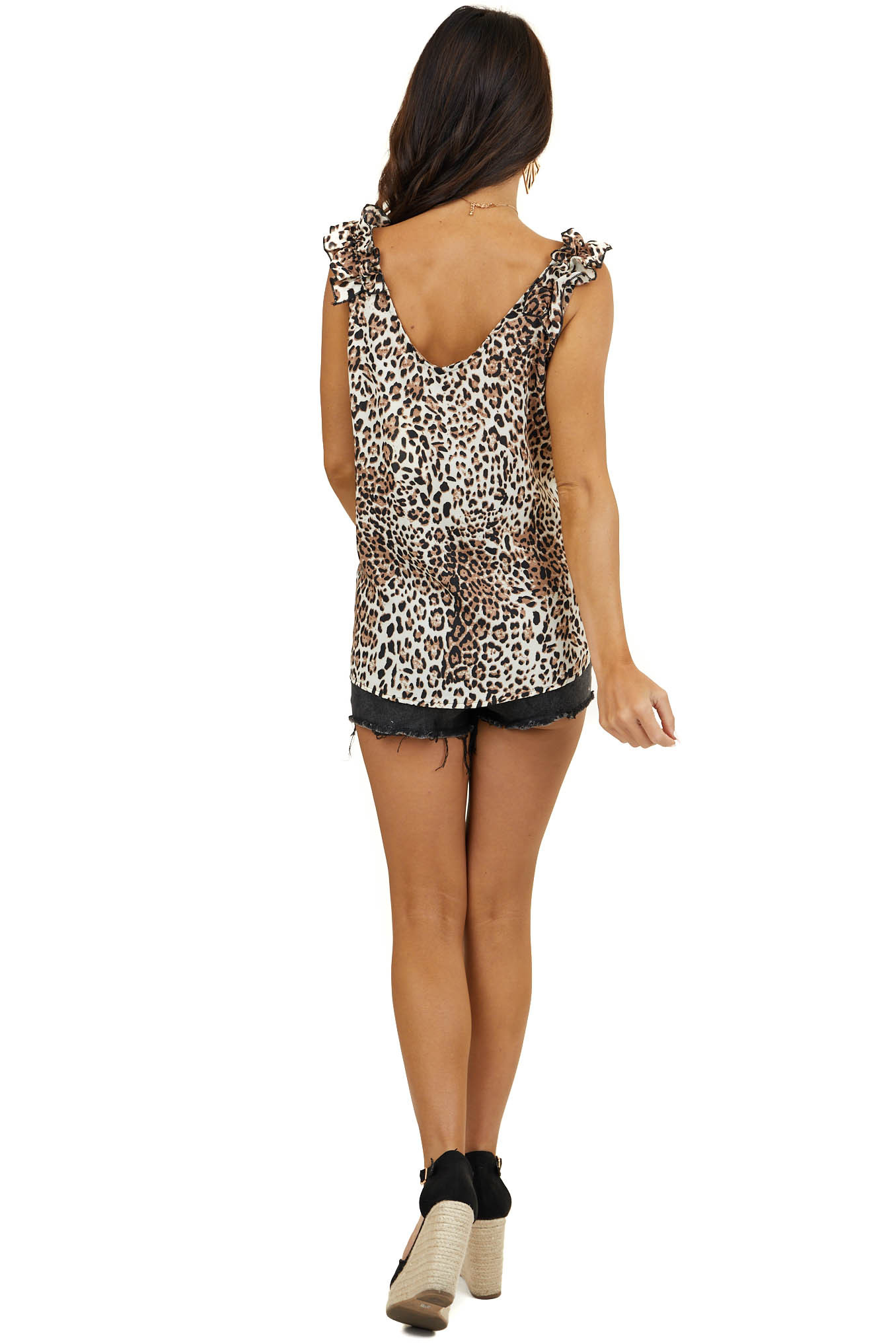 Cream and Camel Leopard Print Tank Top with Ruffle Straps