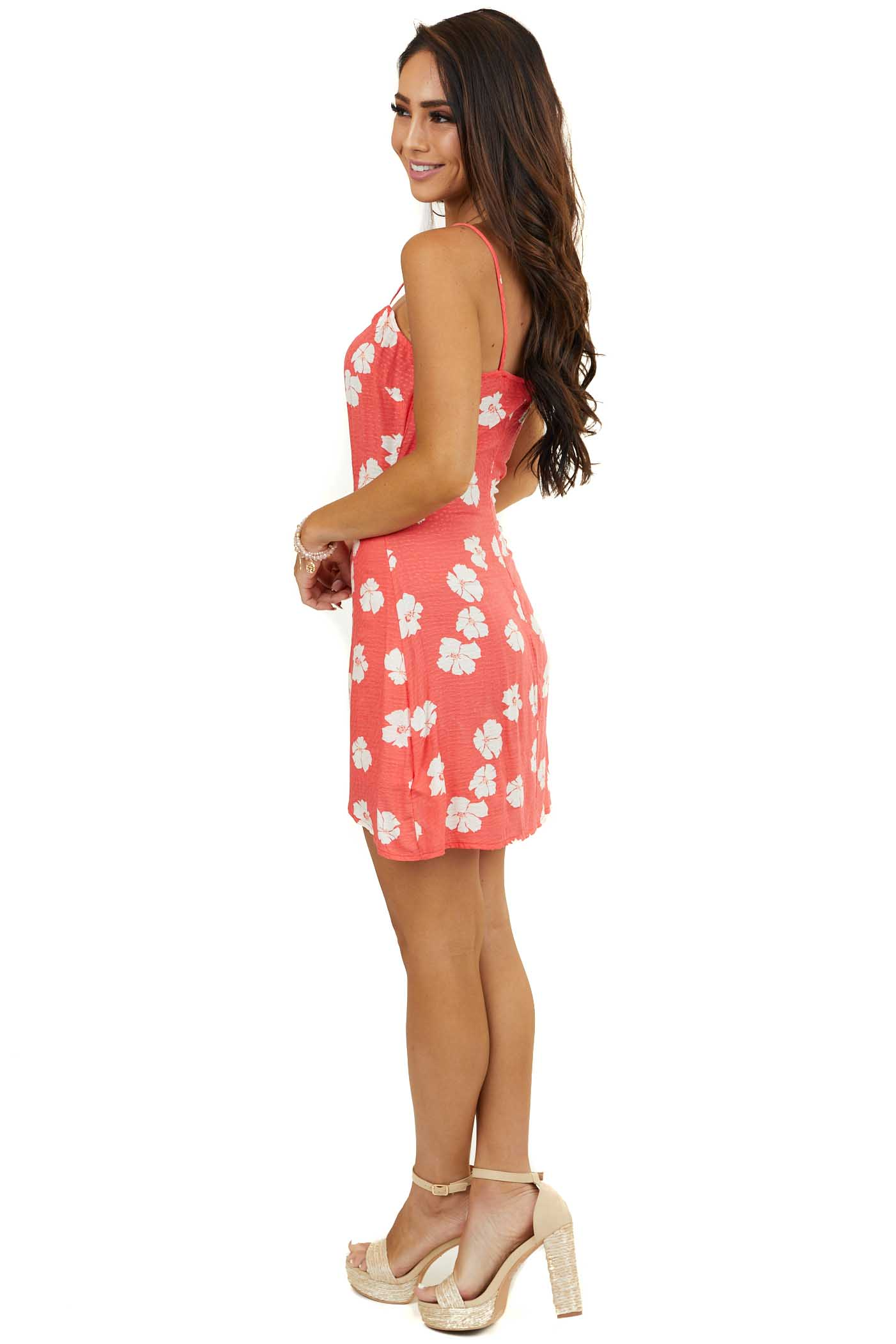 Bright Coral Floral Mini Dress with Wrap Detail and Tie