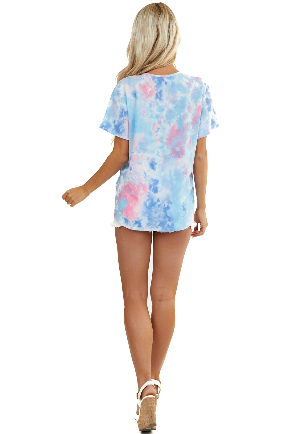 Sky Blue Tie Dye Top with Neckline Cutout and Twist Detail