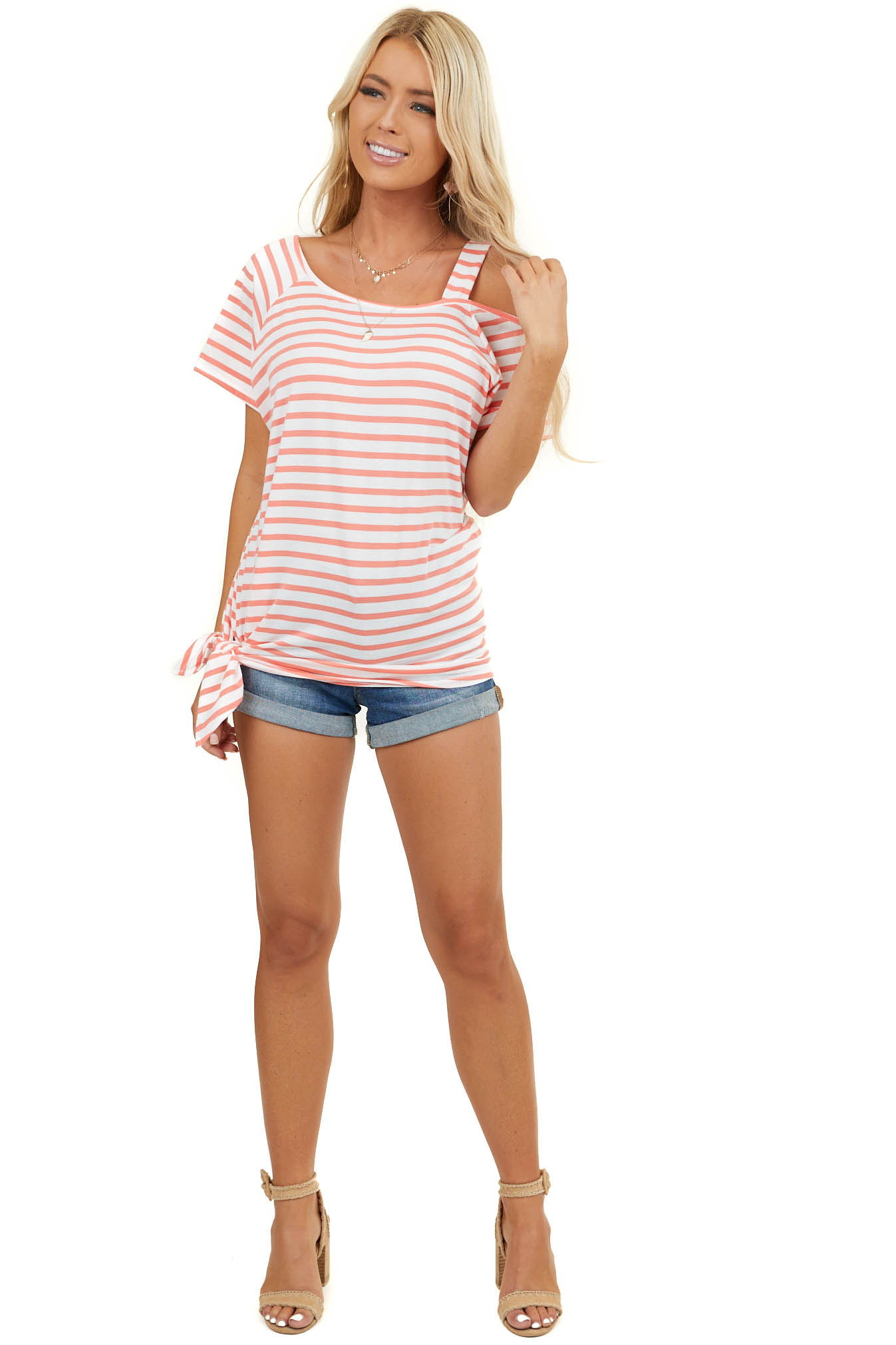 Ivory and Coral Striped One Cold Shoulder Top with Side Tie